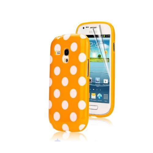 Etui Housse Coque Pois Polka Multicouleur Galaxy S3 Mini - Orange
