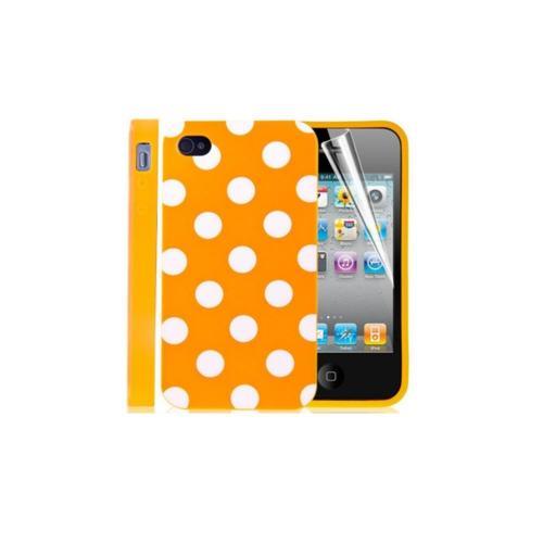 Etui Housse Coque Pois Polka Multicouleur Iphone 4 - 4s - Orange