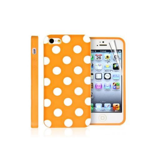 Etui Housse Coque Pois Polka Multicouleur Iphone 5c - Orange