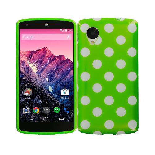 Etui Housse Coque Pois Polka Multicouleur Nexus 5 - Vert