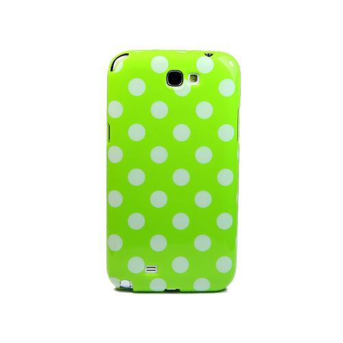 Etui Housse Coque Pois Polka Multicouleur Samsung Galaxy Note 2 - Vert