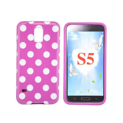 Etui Housse Coque Pois Polka Multicouleur Samsung Galaxy S5 - Rose
