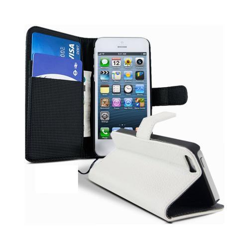 Etui Housse Coque Portefeuille Apple Iphone 5 - 5s - Blanc
