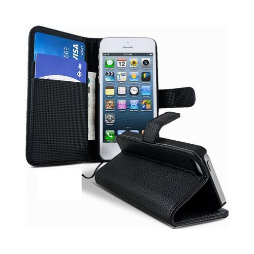 Etui Housse Coque Portefeuille Apple Iphone 5 - 5s - Noir