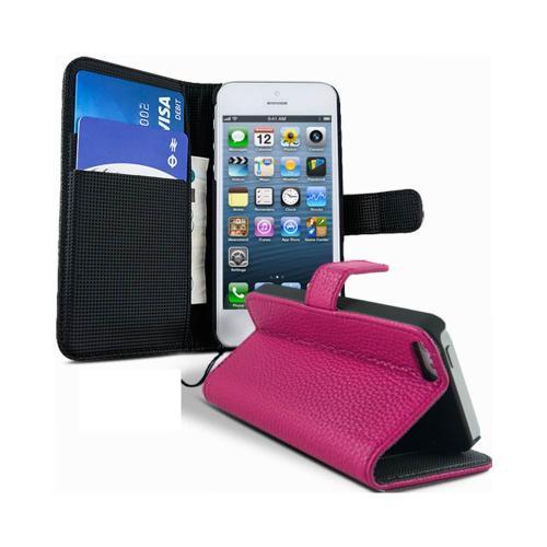 Etui Housse Coque Portefeuille Apple Iphone 5 - 5s - Rose