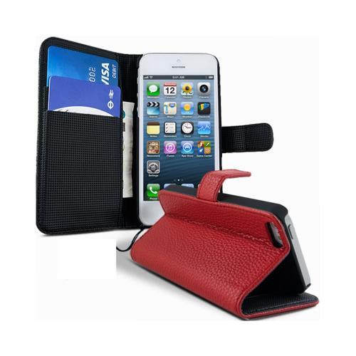 Etui Housse Coque Portefeuille Apple Iphone 5 - 5s - Rouge