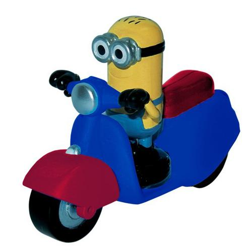 Figurine Minion scooter bleu et rouge  - 7 à 8 cm